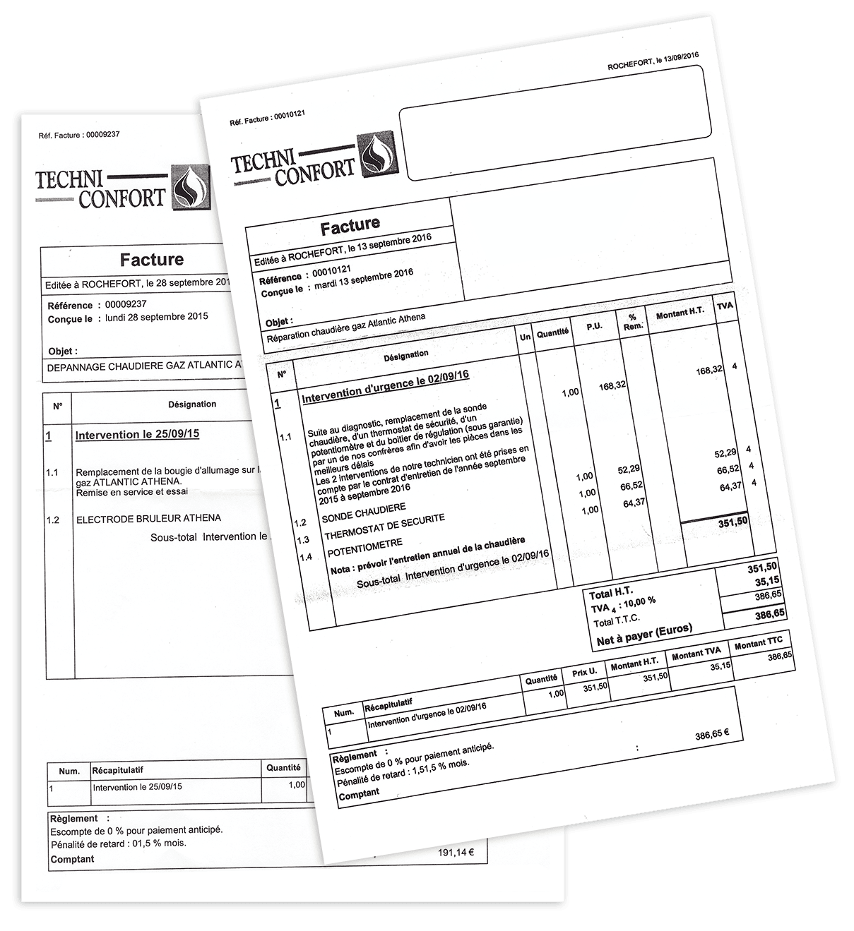 Sample of typical bills for central heating repair